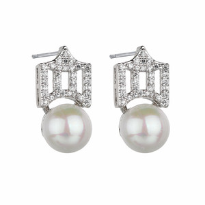 Wholesale Fashion Sterling Silver Stud Earrings Pearl Zircon Inlay Crown Female Earrings for women Factory Jewelry