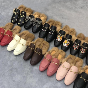 Wholesale male hair resale online - Classic male Half slippers with authentic soft cowhide Flat bottom Metal buckle Hair Slippers Embroidered woman Shoes Warm Wool slippers