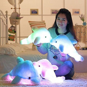 Wholesale LED Plush Dolphin Stuffed Animal Blue Pink White Light Up Kids Toy quot Night Light Gift NEW