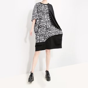 Wholesale New Korean Style Women Black Leopard Patchwork Dress Knee Length Female Casual Plus Size Loose Midi Dress Robe Femme F320