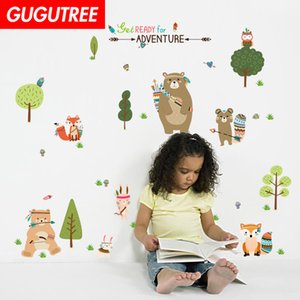 Decorate Home trees animal cartoon art wall sticker decoration Decals mural painting Removable Decor Wallpaper G-2315