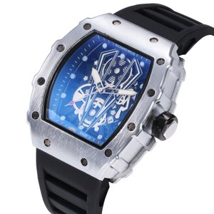 Wholesale 2019 hot sale automatic skeleton quartz watch for a man to leave the shore background transparent blue dial watch The fashion leisure belt A