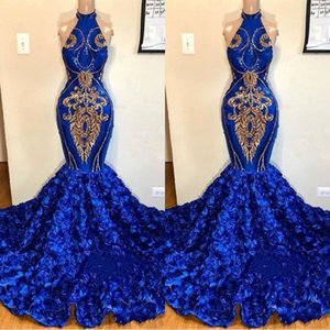 New Royal Blue Mermaid High Neck Evening Dresses Gold Appliques Rose Flowers Long Women Occasion Prom Gowns 2K19 Junior Party Wears BC1213 on Sale