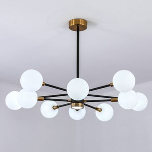 Wholesale Modern Nordic muti head globe glass pendant lamp droplight ball lighting fixtures white black hanging lamps for bedroom living dinning room