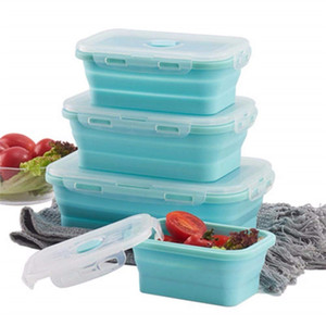 Wholesale 3pcs Set Collapsible Silicone Lunch Box Food Fruit Storage Container Portable Bento Box Safe Kitchen Microwave School Lunchbox