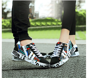 Wholesale 2019 Leisure Women s shoes Couple Printing Canvas fashion women sneakers high quality spring autumn wedges ladies flats Large size