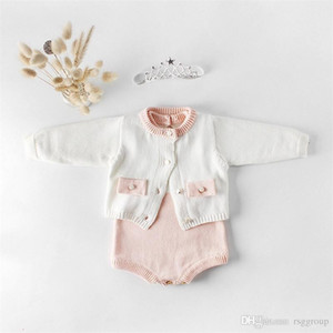 Wholesale Fall INS Toddler Baby Girls Sweater Rompers Cotton Blank Long Sleeve Sweater Coat Front Buttons Jumpsuits Stylish Newborn Autumn Bodysuits