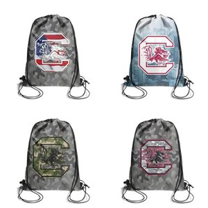 South Carolina Gamecocks Effect Flag Logo white Womens Mens Drawstring Backpack Gym Gray Camouflage Black Basketball White football Mesh