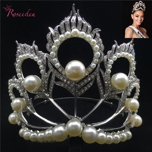 Wholesale 2017 Miss Universe Crown Full Round Adjustable Pearl Peakcock Feather Tiara Pageant RE B D19011102