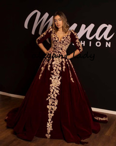 Wholesale Burgundy Velvet Kaftan Caftan Evening Formal Dresses with Half Sleeve Gold Luxury Lace Applique Arabic Dubai Abaya Occasion Prom Gown
