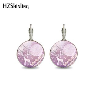 Wholesale 2019 New Trendy Elk Deer Clip Earrings Cabochon Round Glass Jewelry Christmas Gifts Women Silver Animal Photo Dome Clip Earring