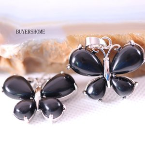 25x30MM Silver Color Women Butterfly Necklace Pendant Natural Stone Beads Black Onyx 1Pcs K465