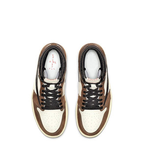1s Travis black dark mocha TOP Factory Version 1 reverse Basketball Shoes mens trainers New 2019 Sneakers with Box