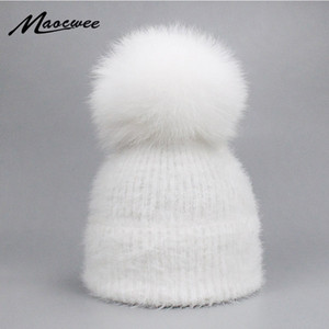 Wholesale Casual Solid White Black Green Red Rabbit Fur Beanie Hat Female Real Fox Fur Pom Pom Skullies Caps Winter Warm Soft Knitted Hat