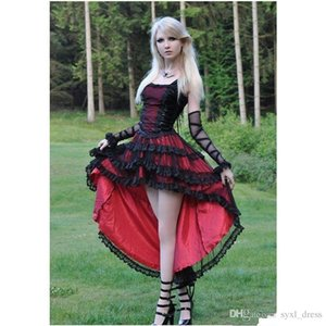 Gothic Mermaid Short Prom Dresses Evening Gown Formal Dress Party Wear High Low Red and Black Lace on Sale