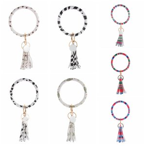 Wholesale Cactus Patterns Bangles Key Ring Tassel Charms Wristbands Keychain Creative PU Leather Wrap Bracelet Chains Creative TTA1703