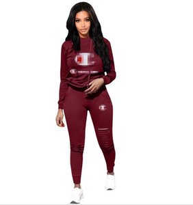 Wholesale A6007 Women Sport Tracksuit Hoodies Pants Piece Woman Set Outfit Solid Color Hollow Out Womens Sweatsuits Sweat Suits Hot Clothing