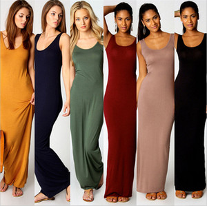 Women Solid Color Spaghetti Sexy Long Tank Dress Summer Maxi Dresses Milk Fiber Sleeveless Bodycon Beach Travel Party Dresses 2019 A32001