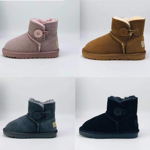 Infant Australia Mini Button Classic Kids Snow Boots Chestnut New Born Baby Small girl boys Thick Warm Cotton-Padded Suede Buckle Flats