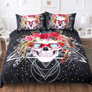 Wholesale skull bedding for sale - Group buy BEST WENSD Black Sugar Skulls Comforter Bedding Sets Brand Home King Bedclothes Cotton Duvet Cover pillowcases Egyptian cotton