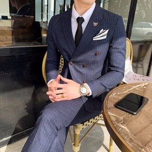 Wholesale Men British Style Dark Stripe Suits Costume Double Boutonnage Homme Slim Business Casual Professional Dress piece Male