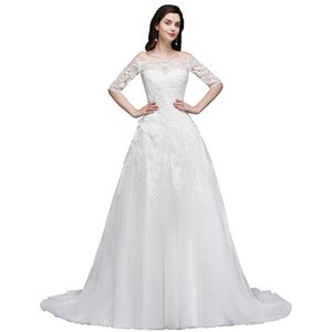 Modern White Ivory Sheer Half Sleeves Wedding Dresses A Line Off Shoulder Appliques With Button Covered Back Bridal Gowns CPS742 on Sale