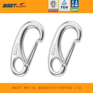 Wholesale 2PCS Boat Marine Stainless Steel Egg Shape Spring Snap Hook clips Quick Link Carabiner Buckle eye shackle Lobster Claw outdoor