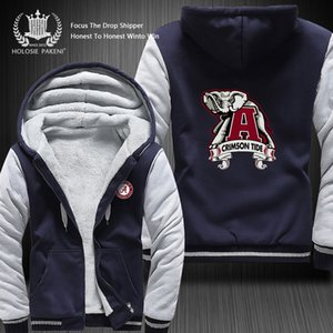 Wholesale Dropshipping Famous Team Alabama Crimson Tide Winter Thicken Fleece Coat Hooded Zipper Sweatshirt Jacket Costume Made colors