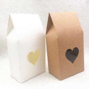 Wholesale 50pcs Brown white Paper handmade candy bags Paper brown stand up window gift boxes for wedding Gift Jewelry Packing Bags