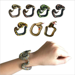 Wholesale Kids Funny Novelty Gifts Halloween Spoof Spoofing Snake Toy Wrapable Arm Python Snake Bracelet Simulation Animal Model Gag Toys LT1178