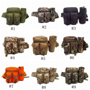Wholesale Tactical Waist Bag Multifunction Army Fan Outdoor Hiking Package for Men Women Sport Packet Camouflage Travel Kettle Package LJJZ463