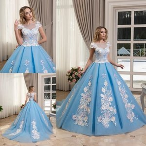 Wholesale Princess Ball Gown Prom Dresses Light Blue Sheer Neck Lace Appliqued Flower Evening Gowns Vintage Formal Pageant Dress