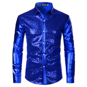 Wholesale red sequin shirts for sale - Group buy Luxury Royal Blue Sequin Metallic Dress Shirts Men New Long Sleeve s Disco Party Shirt Male Christmas Halloween Costume