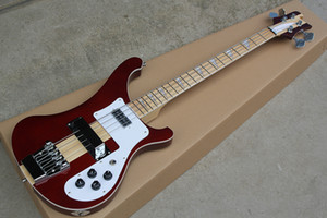 Wholesale Factory Custom Wine Red String Electric Bass Guitar with Neck Thru Body Maple Fingerboard Chrome Hardwares Pikcups Offer Customized