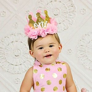 Wholesale Baby Girl First Birthday Decor Flower Party Cap Crown Headband Year Number Priness Style Birthday Hat Baby Hair Accessories