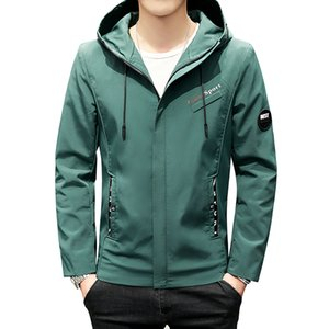 Wholesale armband jacket for sale - Group buy Green Black Beige Jacket Men Casual Hooded Coat Letter Print Armband New Fashion Clothing Zipper Windbreaker Jackets Male