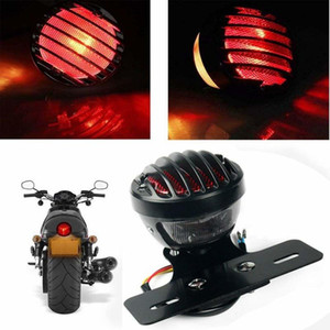 1PCS Motofans Black Round Metal Motorcycle Tail Brake Light for Bobber Chopper Custom April IA Mana
