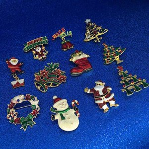 Wholesale Merry Christmas Brooch Pins Christmas Tree Snowman Santa Claus jingle Bell Brooch Fashion Jewelry Xmas Gift Will and Sandy