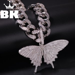 Wholesale HIP HOP Custom Butterfly Pendant Necklace Combination Words Name With Big Clasp Chain Full Iced Cubic Zirconia Jewelry