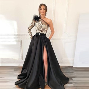 2019 A-line Floor Length Split One Shoulder Long Sleeve Applqiues Evening Wear In Stock Hot Sales High-end Occasion Dress on Sale