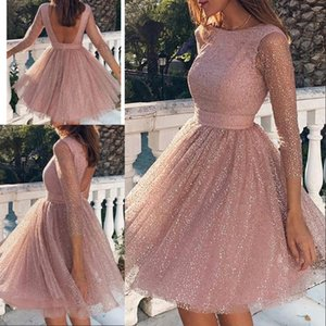 Wholesale 2020 Pink Women Sexy Backless Cocktail Dresses Jewel Sheer Neck Long Sleeve Homecoming Gowns Glitter Female Elegant Pleated Dress