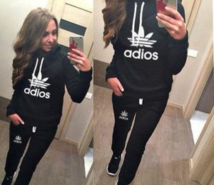Wholesale 2018 New Arrival Women Active Set Tracksuits Hoodies Sweatshirt Pants Running Sports Set Long Sleeves and Pants HOT Printing