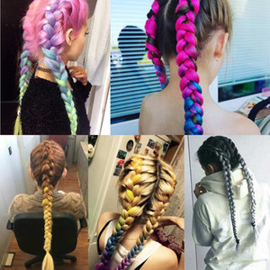 Wholesale Crochet Braids g pack inch Kanekalon Jumbo Braids Hair Ombre Two Tone Colored Synthetic Hair for Dolls Crochet Hair Piece