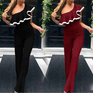 Wholesale Charming Women Long Pants Jumpsuit Evening Party Dress Elegant One Shoulder Flora Black Burgundy Occasion Informal Holiday Gowns