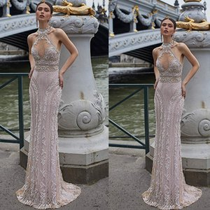 Wholesale Julie Vino 2020 Sheath Wedding Dresses High Collar Lace Applique Bridal Gowns Floor Length Illusion Backless Wedding Dress