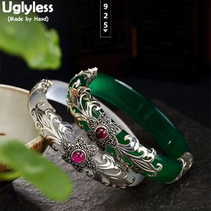 Wholesale rubies bangles resale online - Uglyless Silver Plum Blossom Ruby Bracelets Chalcedony Bangles for Women Ethnic Vines Thai Silver Jade Flower Ruby Bangles CX200613