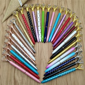 Wholesale student glasses for sale - Group buy 19 Colors Creative Crystal Glass Kawaii Ballpoint Pen Girl Student Ring Big Gem Ball Pen With Large Diamond Fashion School Office Supply