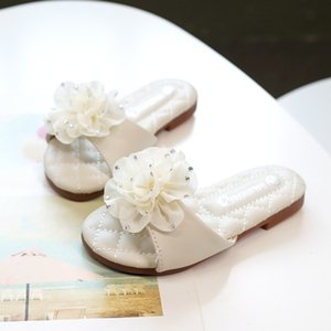 Wholesale Princess Summer Slippers Flowers Kids Flats Rubber Sole Slippers Girls Flowers Shoes Kids Non-slip shoes 203A-91