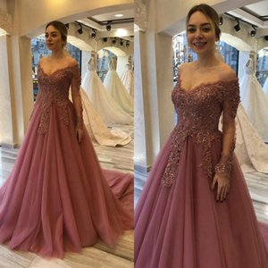 Wholesale Off the Shoulder Lace Beads A Line Evening Gowns Long Sleeve Lady Prom Party Dresses 2020 New Vestido de noiva