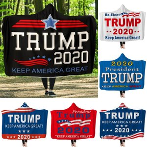 Wholesale Trump Hooded Blankets cm Kids Letter Printed Plush Warm Blankets Wearable Double layer Fleece Throw Blanket OOA7383
